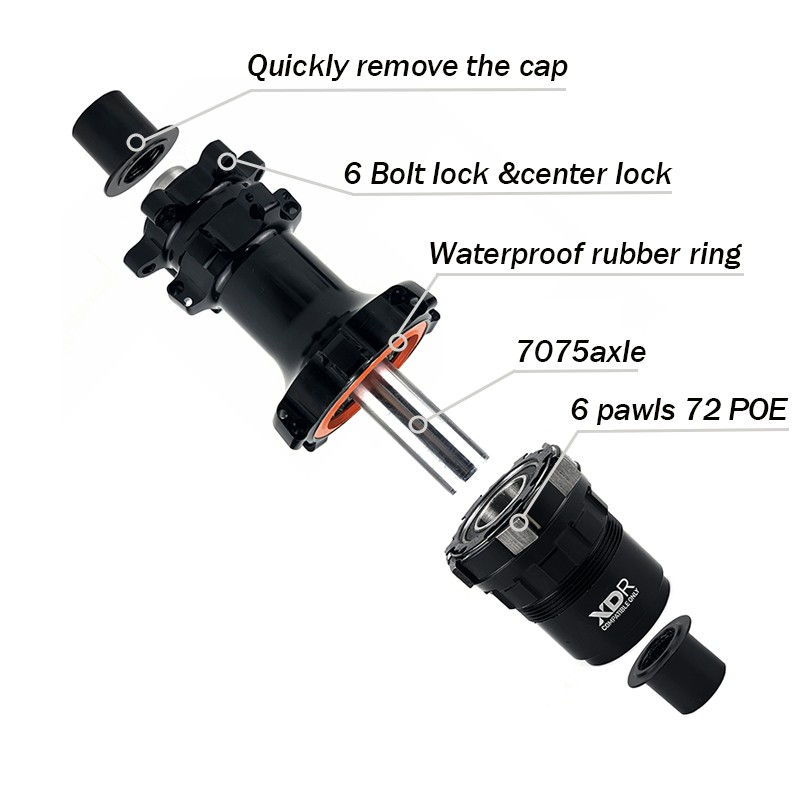 YAR RD07 bike hub center lock & 6 bolt lock brake interface 6 pawls freebody