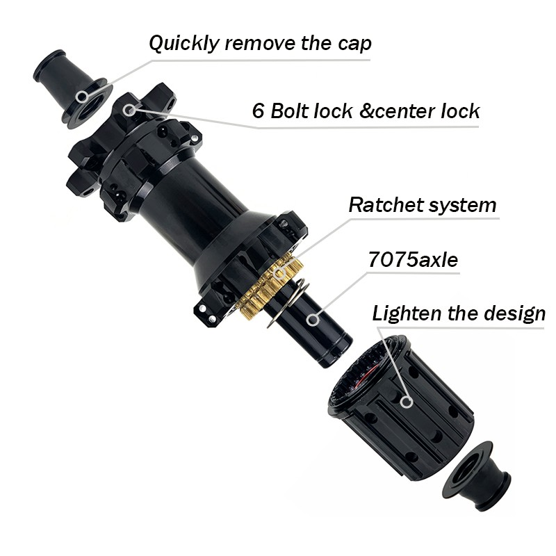 YAR M14 MTB hub ratchet system center lock boost axle hub