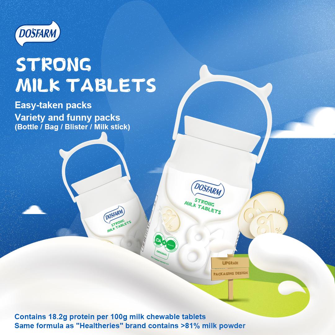 성인과 어린이를 위한 고칼슘 기능성 우유 정제 캔디 백팩 디자인