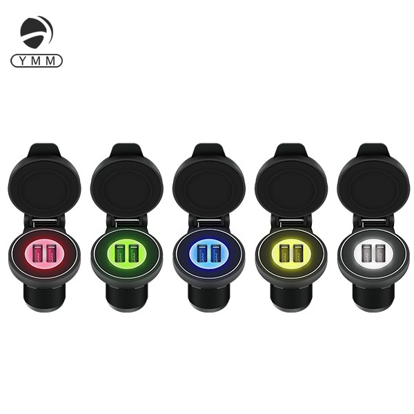 5V 2.1A Corlorful LED light Dual Port Nylon USB Car Charger with Waterproof Cap