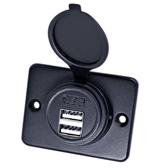 Easy to install 12-24V Surface mount Nylon dual USB charger for car boat RV