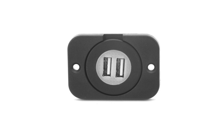 Blue Led Recessed Dash Dual USB Charger Sockets