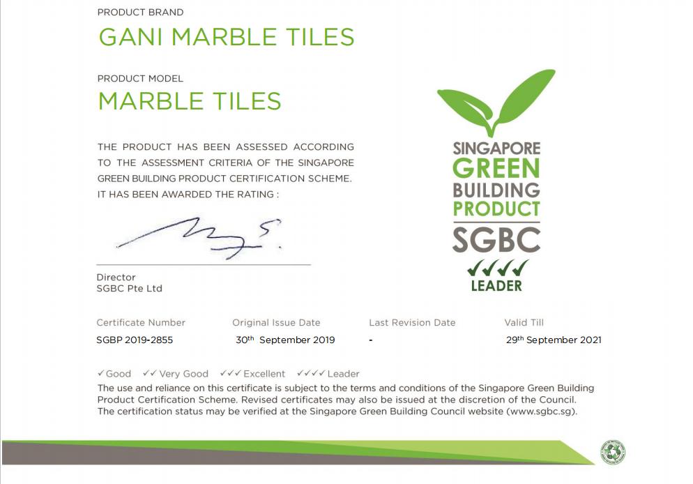 Thương hiệu gạch Trung Quốc đầu tiên đạt được đánh giá cao nhất về sản phẩm công trình xanh Singapore