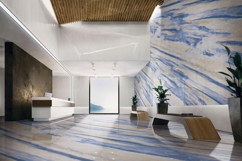 青い大理石のタイル