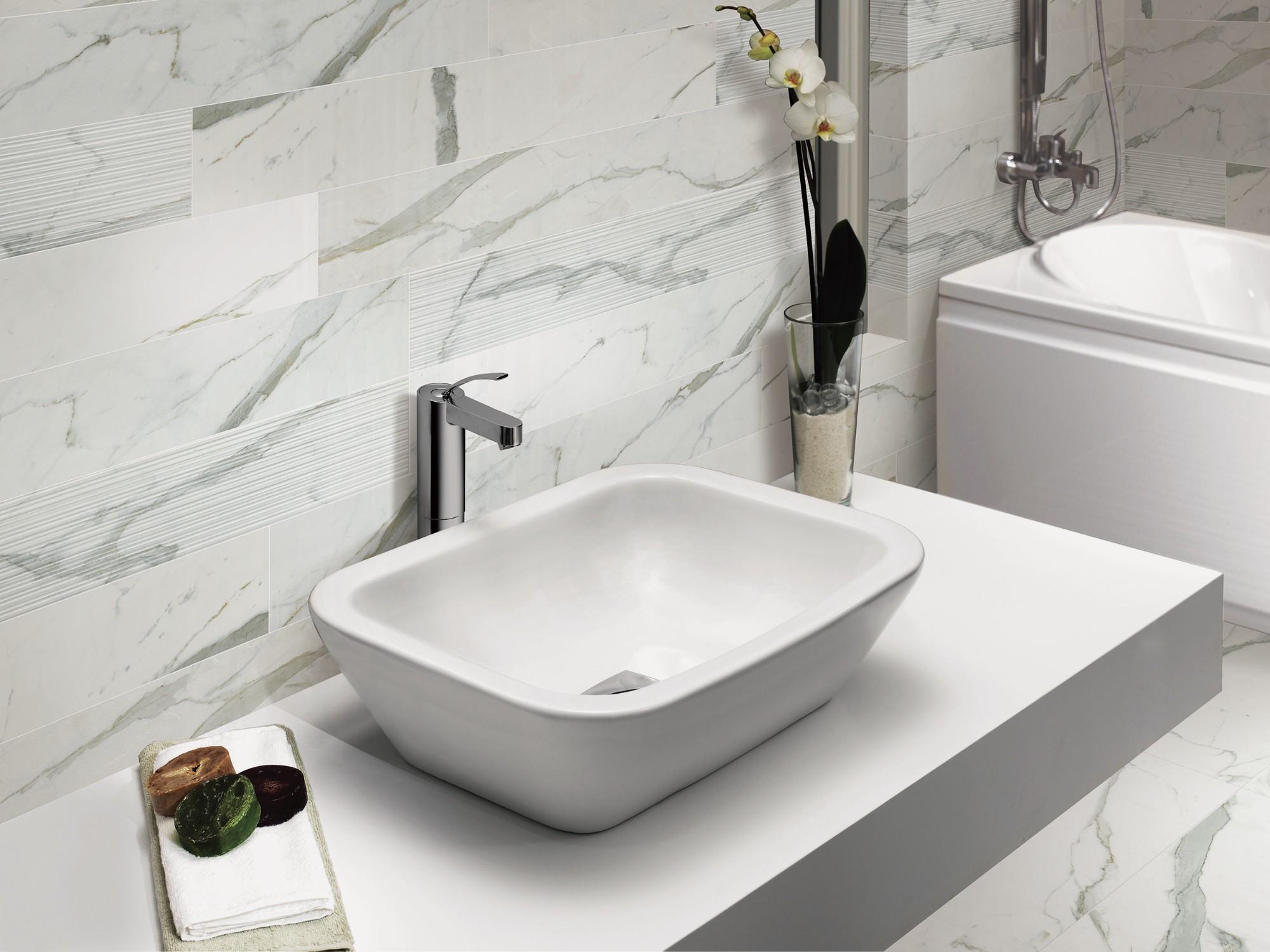 Белая мраморная плитка Statuario Venato