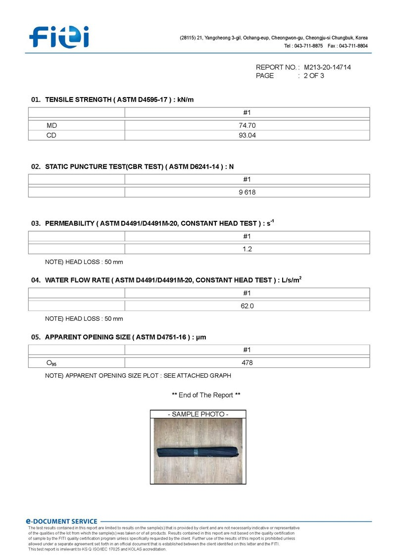 GAI LAB FITI PP Testbericht über hochfeste gewebte Geotextilien 2