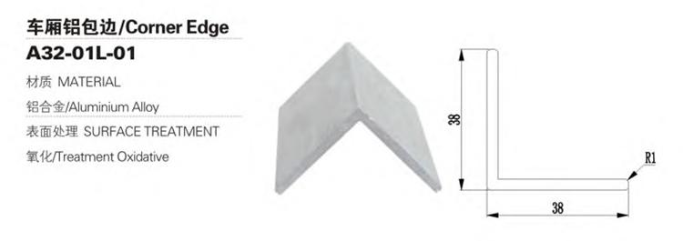 Bord d'angle en alliage d'aluminium pour pièces de carrosserie de camion