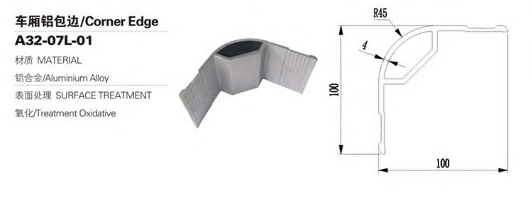 Bord d'angle de carrosserie de camion de remorque en alliage d'aluminium