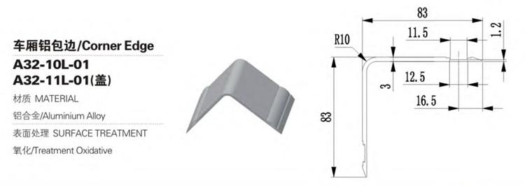 Bord d'angle de corps de camion de remorque en alliage d'aluminium