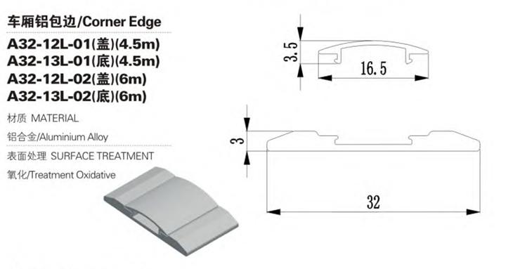 Bord d'angle de carrosserie de camion en alliage d'aluminium de sortie d'usine