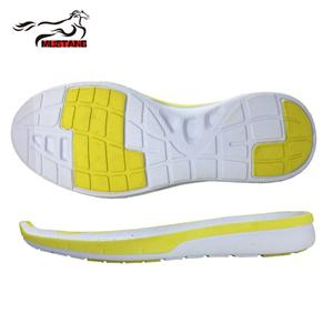 Mustang yellow/white color custom soft flexible EVA shoe outsole sole for shoe making casual shoe sole