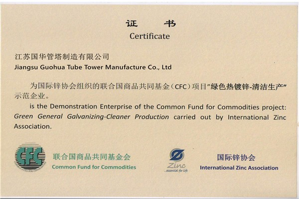 Certificado de producción de CFC Green General Galvanizing-Cleaner Production