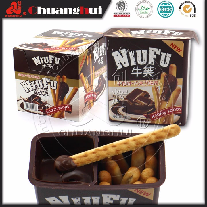 Biscuit Stick Chocolate Cup/Finger biscuits with chocolate sauce