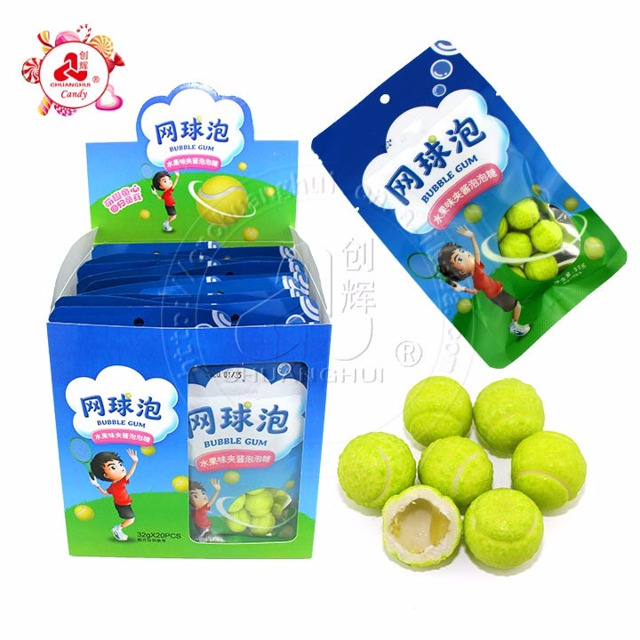 halal fruit flavor tennis shape jam filled bubble gum in bag
