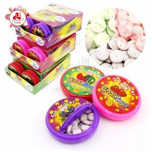 Bonbons acidulés sans sucre sucré fruité pressé au sorbitol dans une boîte en plastique