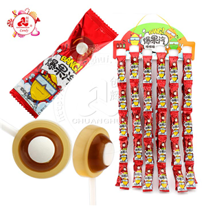 2 in 1 Sour lollipop with soda pressed hard candy