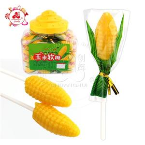 Corn Shaped Soft Jelly Gummy Lollipop Candy