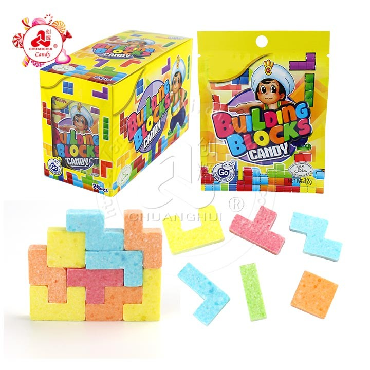 Halal diy fruit flavour Building Tetris blocks press candy for kids