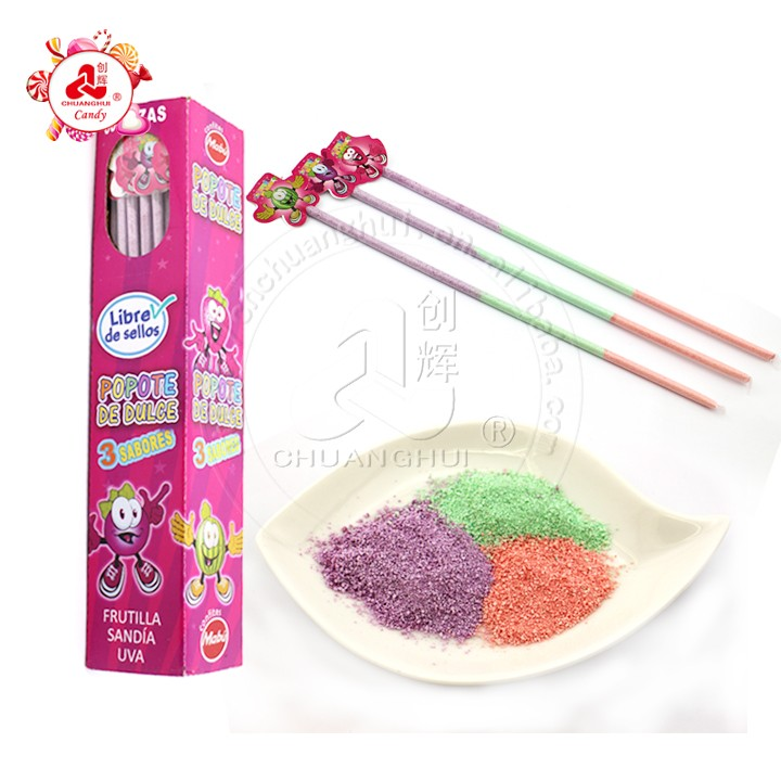 Sugar Free Candy Straw / Long Fruity 3 Flavors Sour Powder Stick