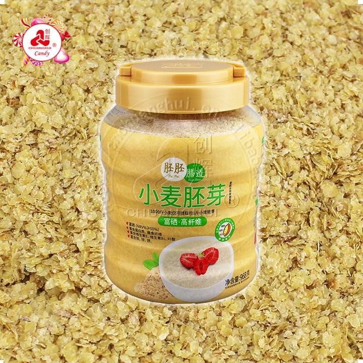 Embryon de blé, flocons de germe de blé instantané de céréales pour petit déjeuner riche en fibres