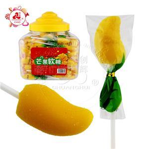 Mango Shaped Sweet Soft Jelly pop Gummy Lollipop Candy