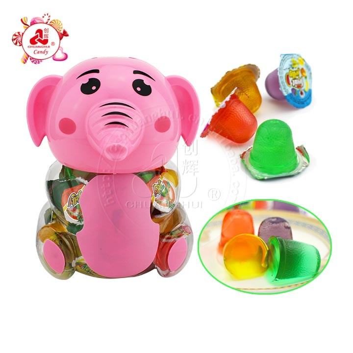 Cartoon elephant shaped jar with mixed fruity jelly candy