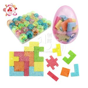 Building block candy in Clear Plastic egg toy