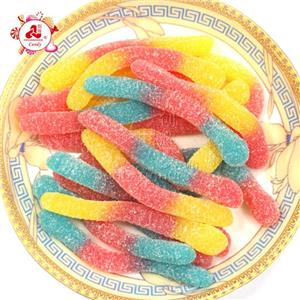 High Quality Bulk Packing Three Colors Snake Shape Gummy / Soft Candy
