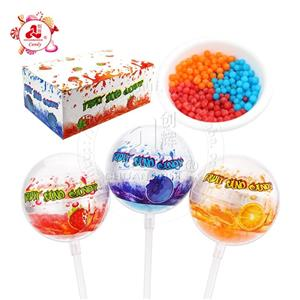 Fruit Sand candy in Transparent plastic ball Lollipop toy candy