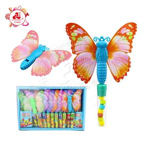 Funny Plastic Butterfly Whistle toy with candy