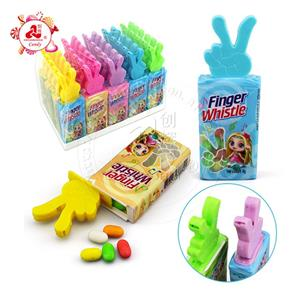 Finger shape bottle with whistle toy fruit flavor pressed candy toy