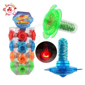 LED lighting Rotational Gyro toy with fruit flavors hard lollipop