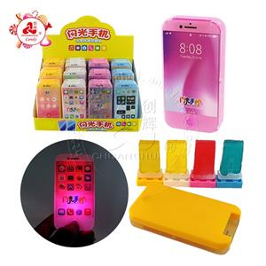 Lighting mobile phone toy with Assorted fruit flavors lollipop candy