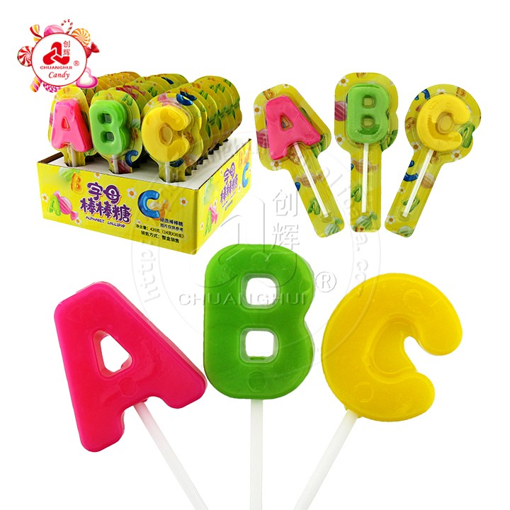 Халяль ABC Shape Sweet Hard Lollipop Candy алфавитный леденец