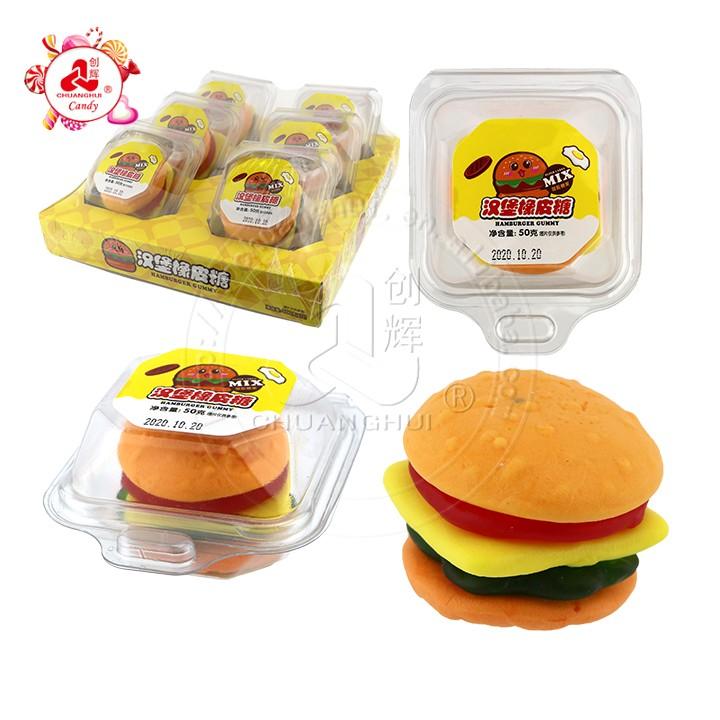Мягкие леденцы для бургеров со вкусом фруктов Халяль Жевательные конфеты в форме больших гамбургеров