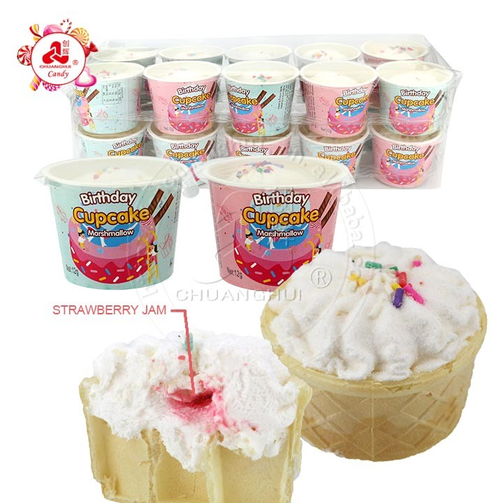 12 г мороженого, зефир, кекс, клубничное варенье, ватная конфета в бумажном стаканчике