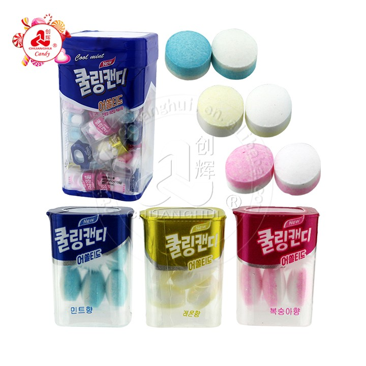 Sugar free Mint fruit flavored pressed candy in Cube box promoted in Korea market