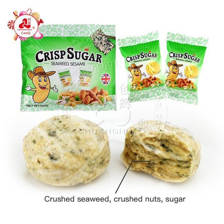2020 vente chaude aux algues sucrées salées sésame croustillant de sucre aux noix bonbons