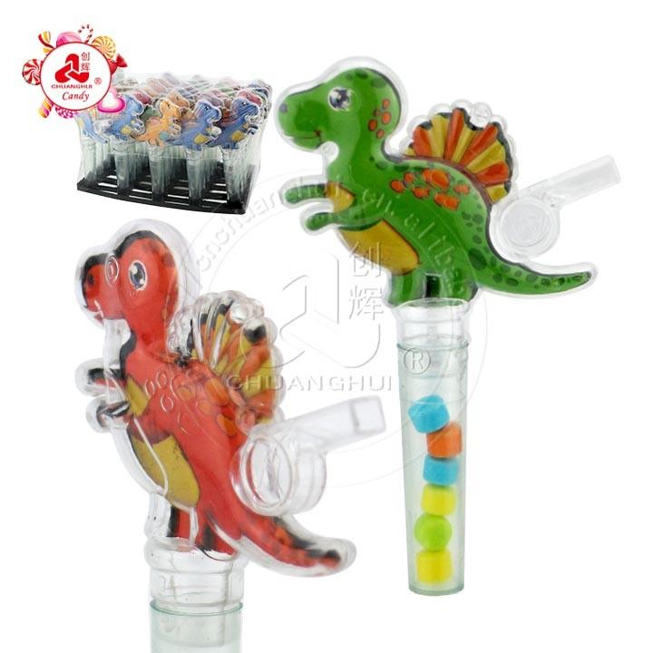 Transparent Cartoon Dinosaur Stegosauru with whistle toy candy