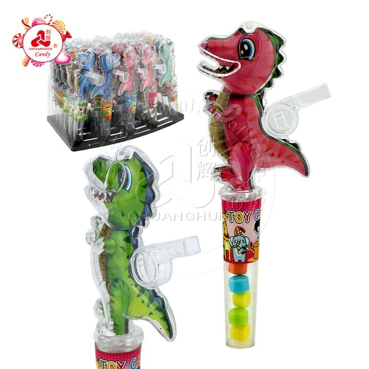 Transparent Cartoon Tyrannosaurus rex with whistle toy candy