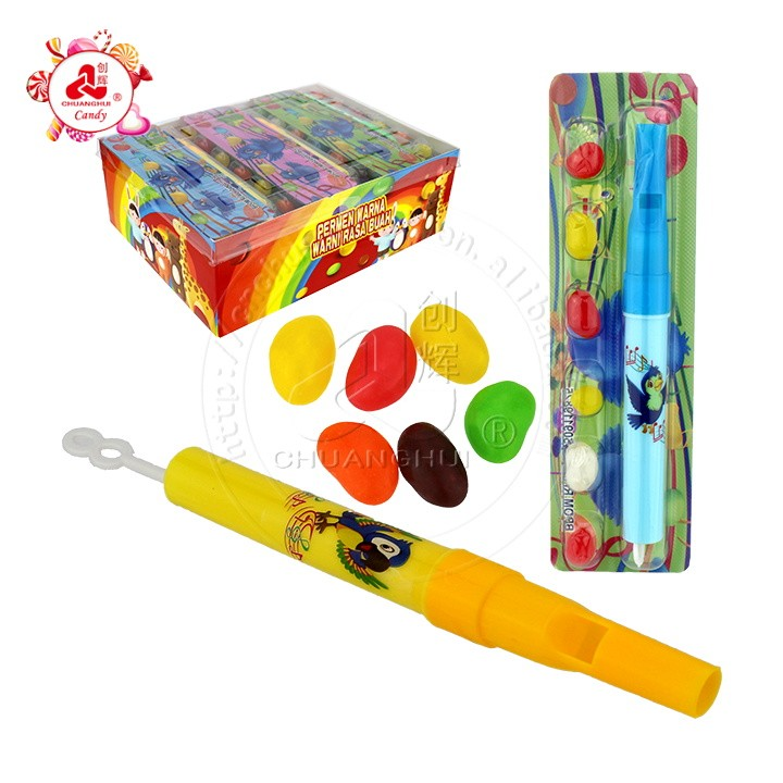 Changing sound flute toys with jelly bean whistle toy candy