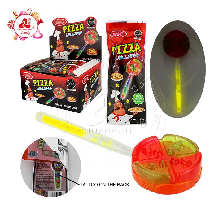 2021 sac de montre de tatouage forme de pizza sucette lumineuse rougeoyante avec sac de tatouage jouet bonbons
