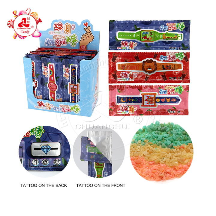 3 in 1 fruit flavor tattoo watch bag popping candy with watch tattoo sticker candy toy