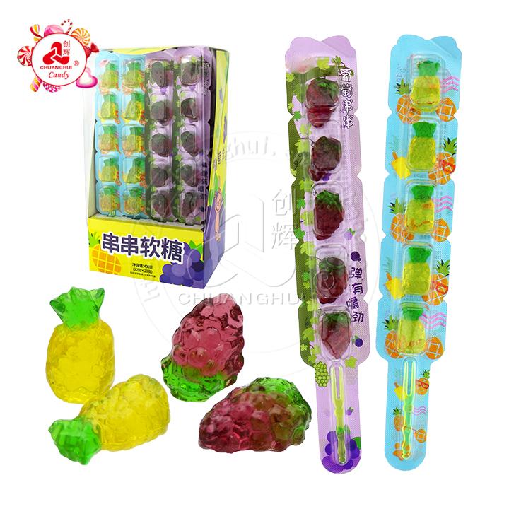 3D Fruit Gummy Candy Stick Ananas et forme de raisin bonbons à la gelée molle