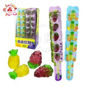 3D Fruit Gummy Candy Stick Конфеты из мягкого желе в форме ананаса и винограда