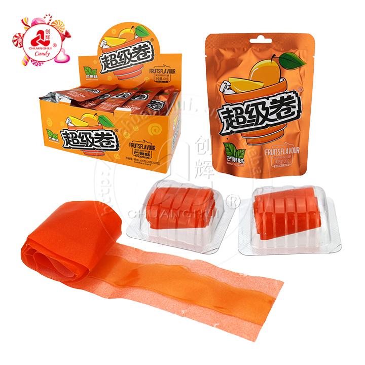Pectine Mangue, pêche, pomme Saveur Gelée Gummy Candy Roll Bonbons en sachet