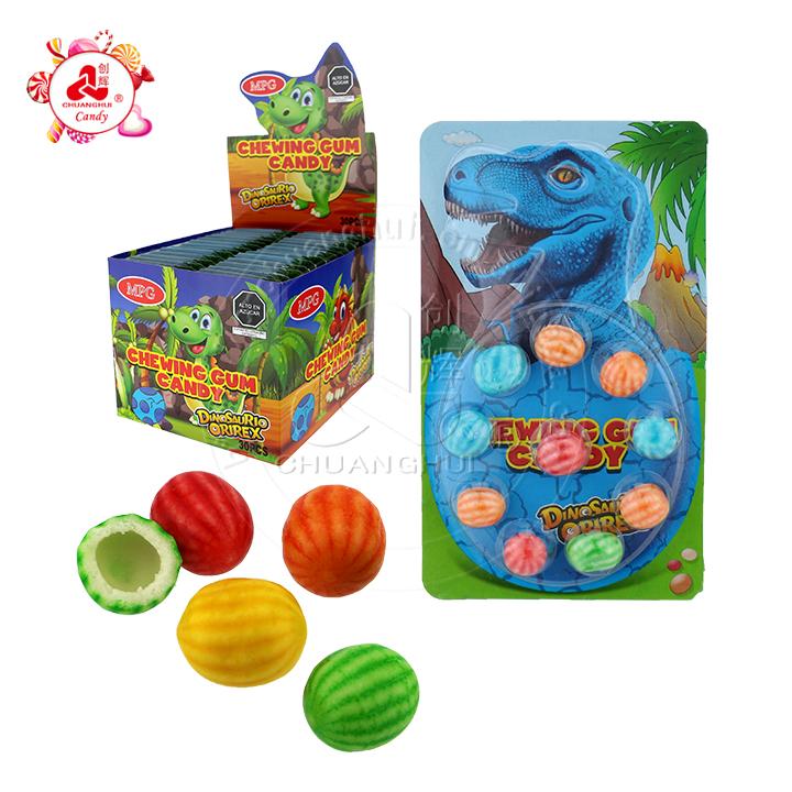 Paquete de huevos de dinosaurio chicle sabor afrutado sandía bola redonda chicle en tableta