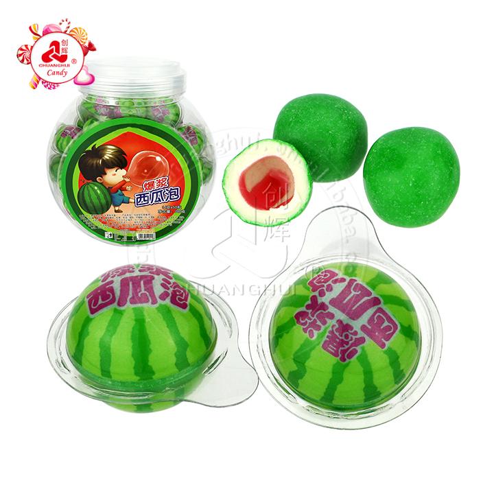 Chicle de sandía de fruta Bola de chicle llena de mermelada de fruta