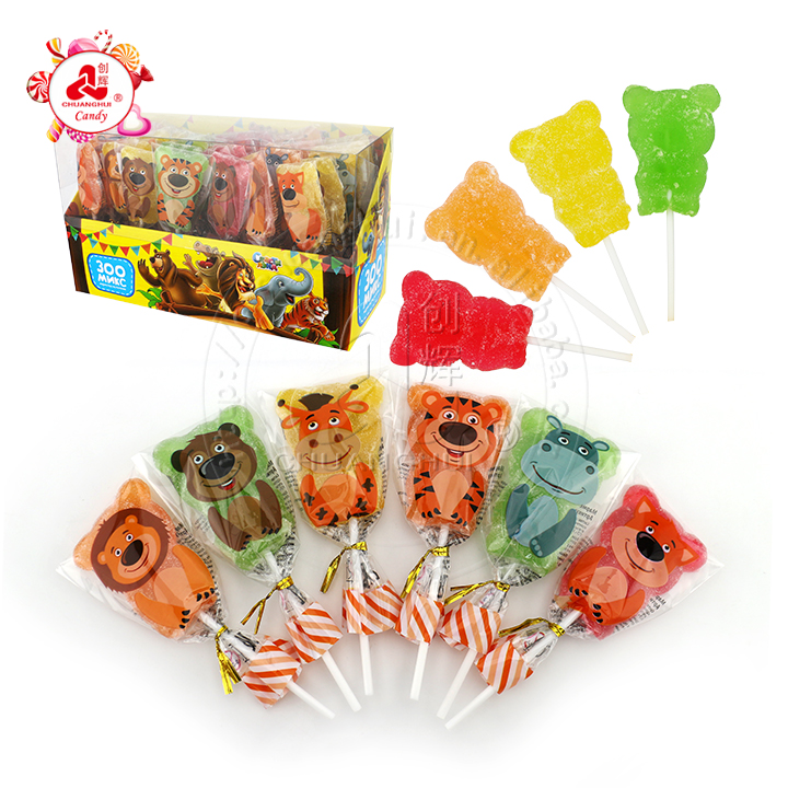 Halal coloré Animal ours mélange gommeux bonbons doux jellypop sucette