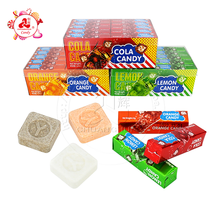 Sour pressed soda Fizz candy coke, lemon and orange juice pressed tablet candy cube